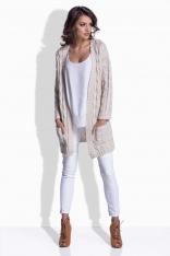 Beżowy Sweter Długi bez Zapięcia w Warkocze