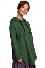 Bluza z Asymetrycznym Rozcięciem - Zielona