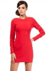 Czerwona Dopasowana Mini Sukienka z Wycięciem na Plecach