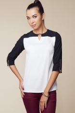 Dwubarwna Bluzka z Suwakami na Rękawach - Biały&czarny