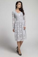 Szara Wizytowa Rozkloszowana Sukienka z Koronki