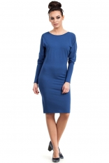 Niebieska Sukienka Midi z Wiązaną Kokardką na Plecach