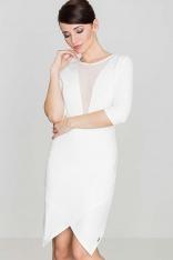 Ecru Seksowna Asymetryczna Sukienka z Szyfonową Wstawką