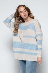 Beżowy Luźny Sweter w Paski z Naszytą Kieszenią