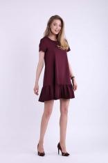 Bordowa Mini Sukienka w Romantycznym Stylu