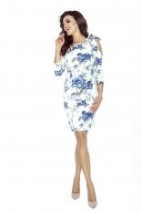 Biała Sukienka w Niebieskie Kwiaty Wiązana na Jednym  Ramieniu