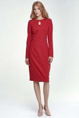 Czerwona Sukienka Ołówkowa Midi z Łezką przy Dekolcie