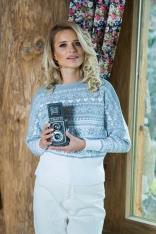 Szaro Biały Nietoperzowy Sweter w Skandynawskie Wzory