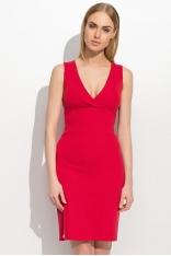 Czerwona Dopasowana Sukienka z Zakładanym Przodem
