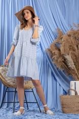 Luźna Sukienka w Niebieskie Paski