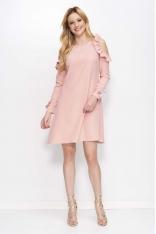Różowa Sukienka o Kształcie Litery A z Wiązanymi Rękawami
