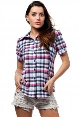 Różowa Klasyczna Koszula Damska w Kratkę z Krótkim Rękawem