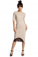 Beżowa Dopasowana Sukienka Midi z Koronką
