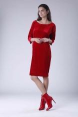 Czerwona Luźna Sukienka z Dekoltem w Łódkę z Weluru