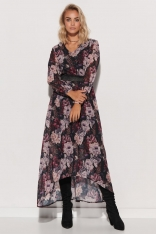 Wzorzysta Sukienka Szyfonowa z Błyszczącą Taśmą - Wzór 12