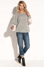 Szary Oversizowy Sweter z Bufiastym Rękawem w Paski