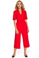Czerwony Elegancki Kombinezon ze Spodniami Typu Culotte