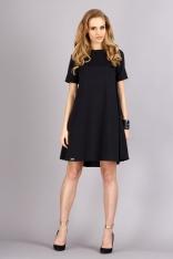 Czarna Trapezowa Wygodna Sukienka z Krótkim Rękawem