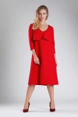 Czerwona Luźna Sukienka w Serek z Nakładką