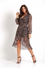 Asymetryczna Sukienka z Kopertowym Dekoltem w Panterkę