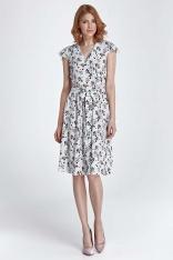 Ecru Sukienka Rozkloszowana z Kwiatowym Wzorem