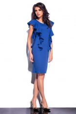 Niebieska Sukienka Midi z Pionowymi Falbankami