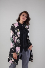 Elegancki Płaszcz na Jeden Guzik - Kwiaty