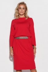 Sukienka z Błyszczącym Pasem - Czerwona