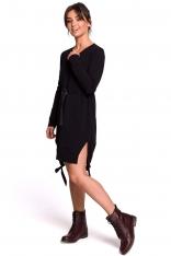 Czarna Casualowa Sukienka w Stylu Bluzy