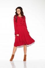 Bordowa Sukienka w Stylu Boho ze Sznurowanym Dekoltem
