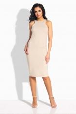 Beżowa Sukienka Ołówkowa do Kolan bez Rękawów