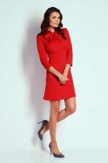 Czerwona Wizytowa Taliowana Sukienka z Wiązaniem
