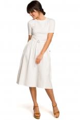 Ecru Lekko Rozkloszowana Sukienka z Krótkim Rękawem