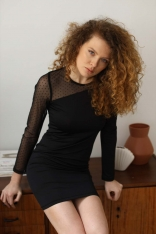 Sukienka Mini z Rękawem w Groszki