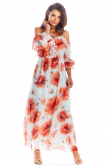 Czerwona Długa Sukienka Hiszpanka w Kwiaty