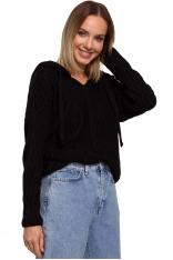 Czarny Nierozpinany Sweter z Kapturem