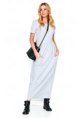 Szara Długa Dresowa Sukienka z Kieszeniami