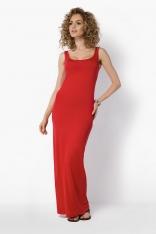 Maxi Czerwona Sukienka na Szerokich Ramiączkach