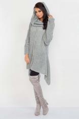 Szary Luźny Długi Sweter z Kominem