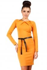 Miodowa Elegancka Sukienka ze Złotymi Nitami
