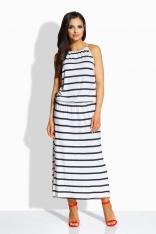 Granatowo Biała Maxi Sukienka z Rozcięciem