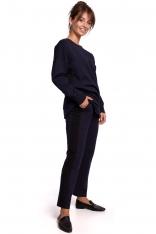 Dresowe Spodnie z Czarnym Lampasem - Granatowe