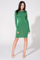 Zielona Sukienka Dopasowana Dzianinowa z Dekoltem na Plecach