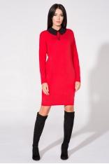 Czerwona Sukienka z Dołączonym Kołnierzykiem