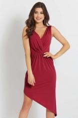 Czerwona Asymetryczna Sukienka z Dekoltem V na Szerokich Ramiączkach