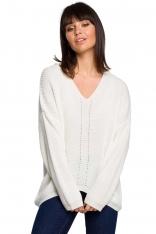 Ecru Oversizowy Sweter w Serek z Asymetrycznym Dołem