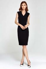 Czarna Sukienka Ołówkowa bez Rękawów z Dekoltem V