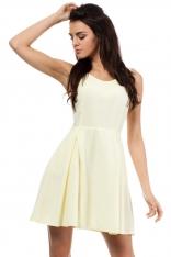 Żółta Rozszerzana Sukienka z Dekoltem