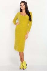 Żółta Midi Dopasowana Sukienka Swetrowa