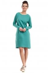 Zielona Sukienka Trapezowa z Kieszeniami